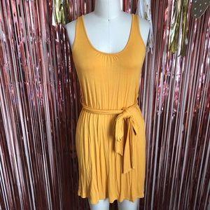 Gold Mustard Yellow Razorback Tie Dress
